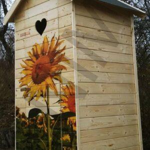Fa latrina/kerti toalett/árnyékszék lenyomattal